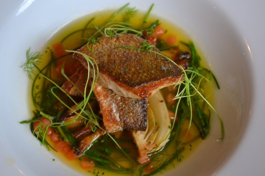 Sea bass with foraged sea vegetables. Photograph: SE