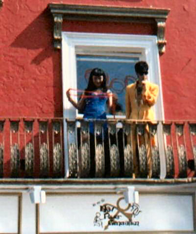 Prince and Mayte Garcia appear on the balcony. Pic: Guide2Prince