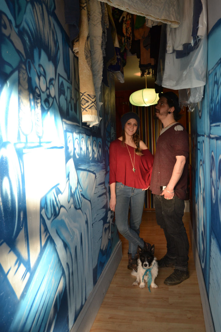 Helen and Ash standing in the corridor leading down to their hit former bar Knowhere Special. Photo: SE