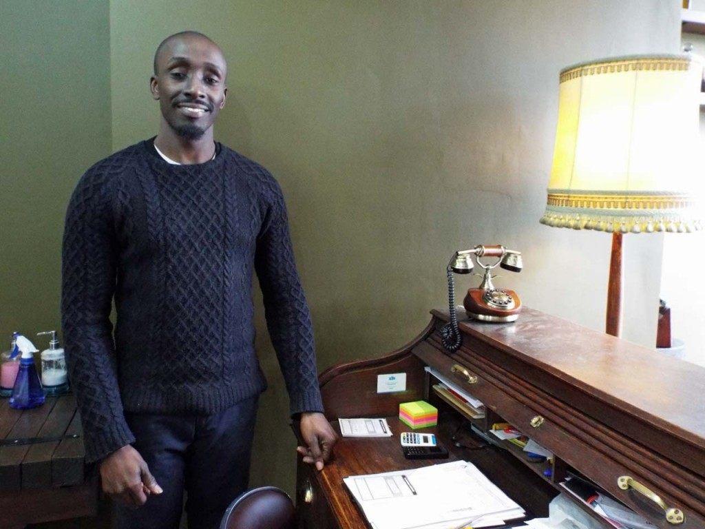 Sam at his vintage front desk.  All photos: Tom Kihl