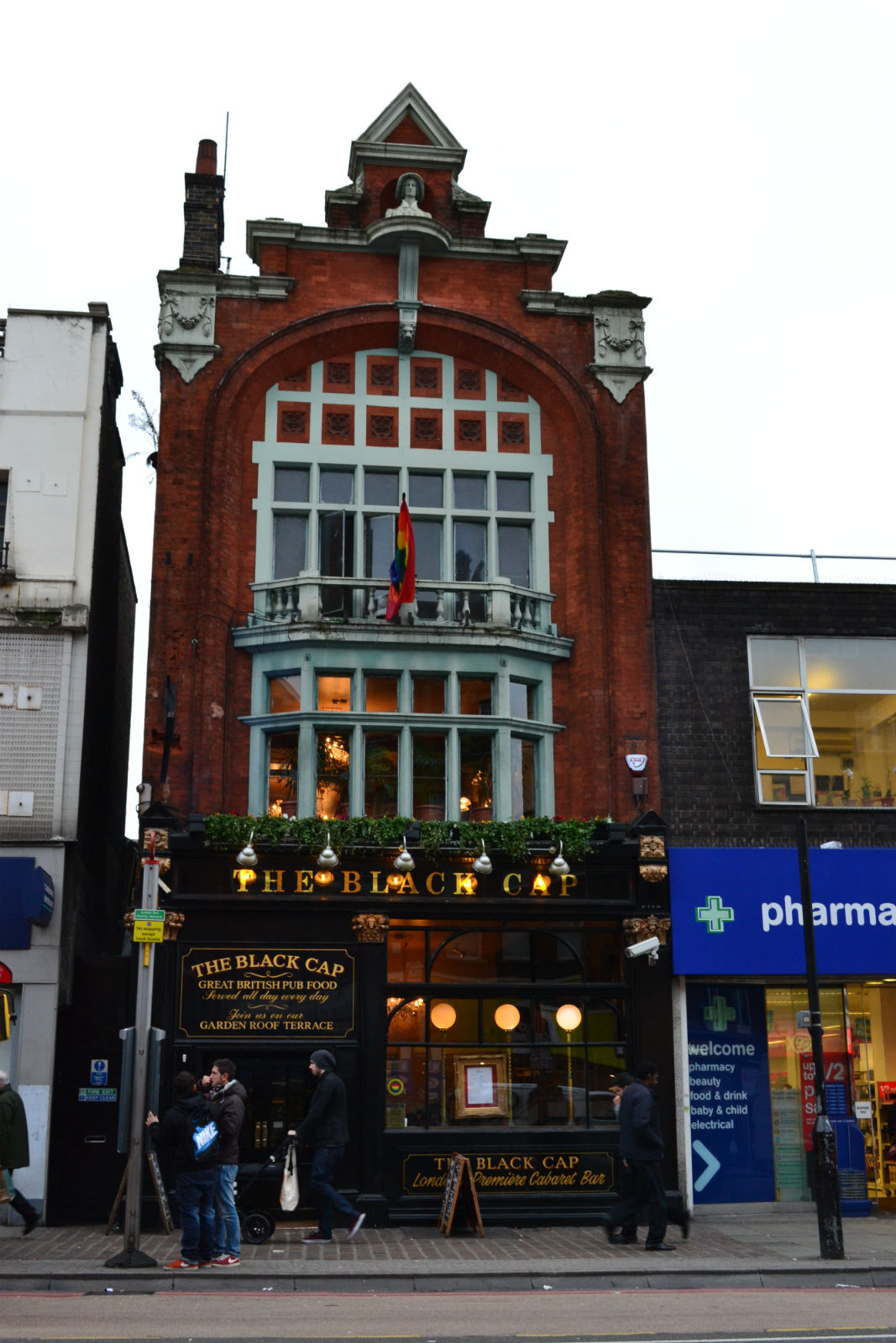 A beautiful gabled building on an unremarkable stretch: the Black Cap RIP. Photo: Stephen Emms