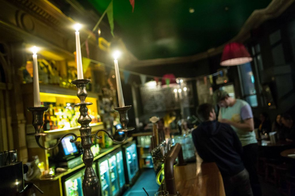 Candle-lit throughout the year: the cosy bar. Photo: Dan Hall