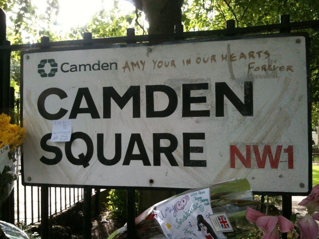 The street sign the day after Amy Winehouse died, July 2011. Photo: Stephen Emms