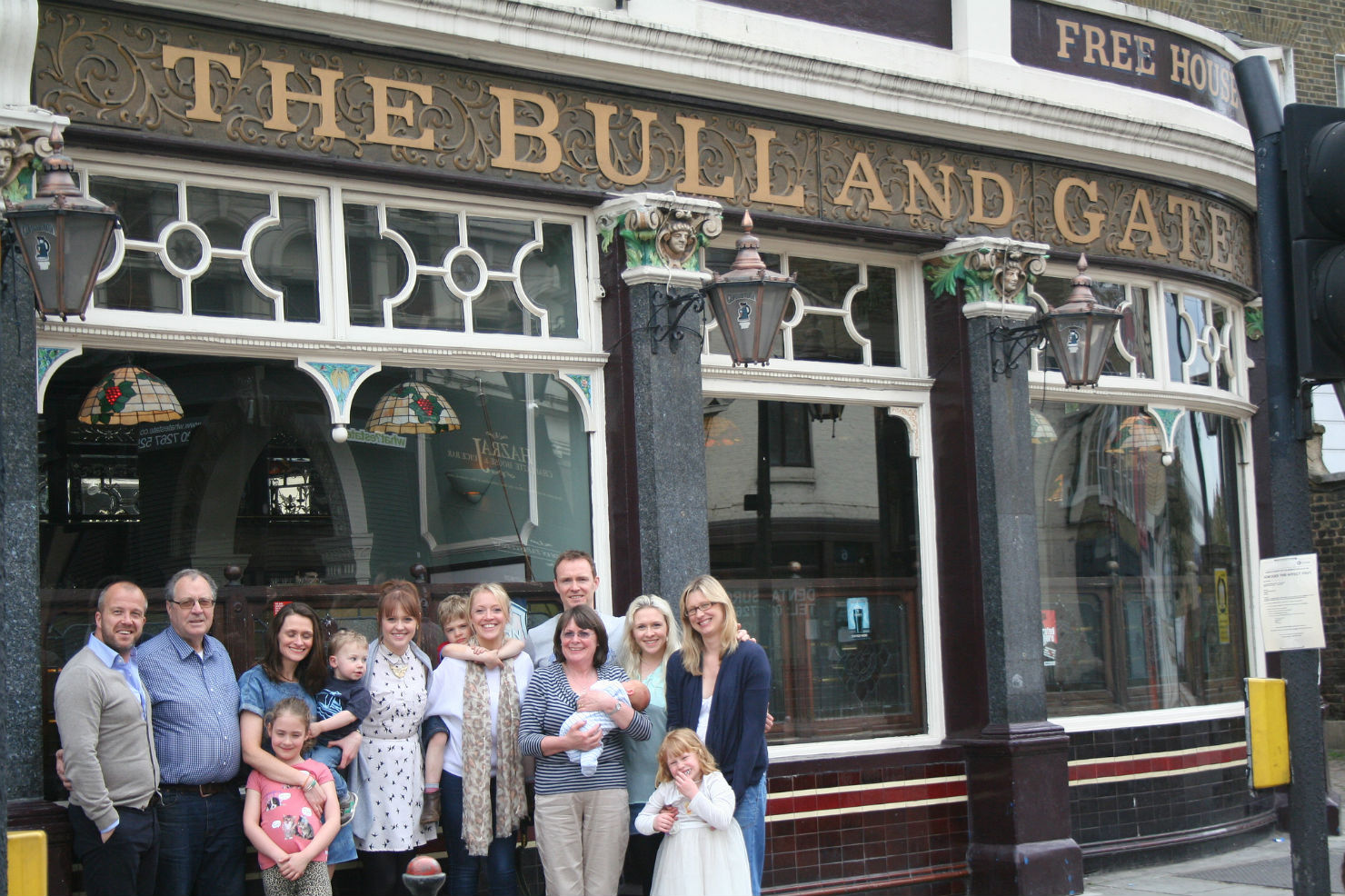 The family outside the pub before they sold it in May 2013. Photo: Lynskey Family