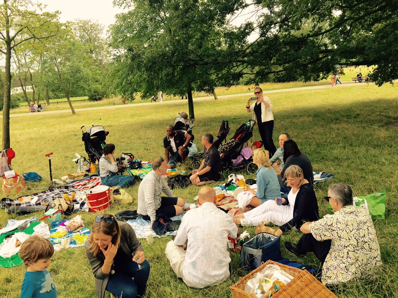A little too blowy? Picnickers on Parliament Hill battle this forlorn English summer. Photo: SE