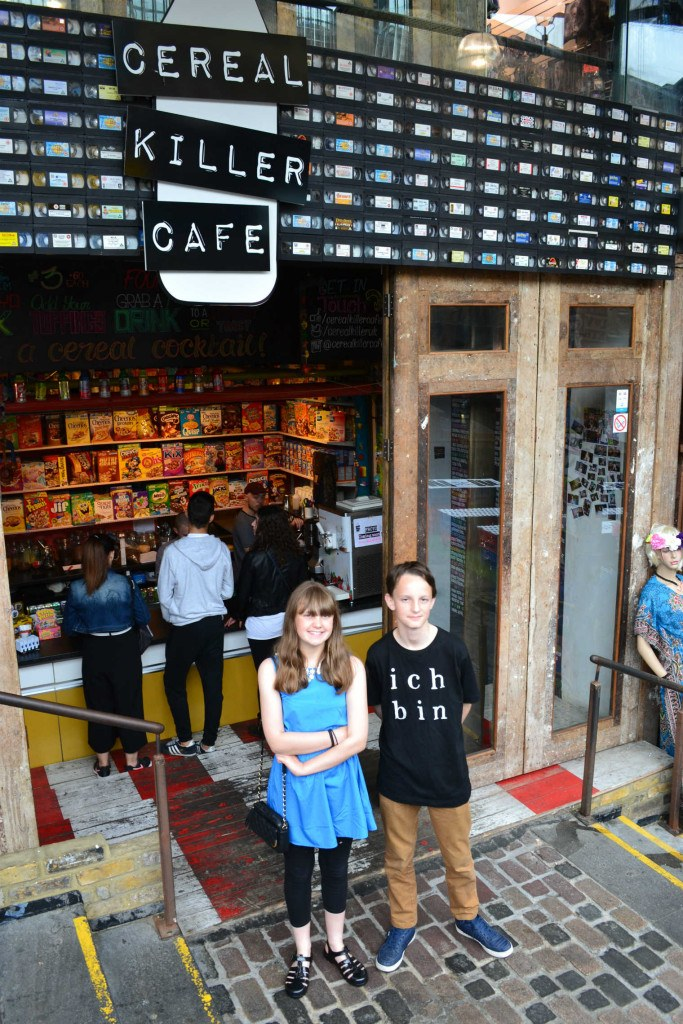 Hannah and Matthew pose outside cafe. Photo: Stephen Emms