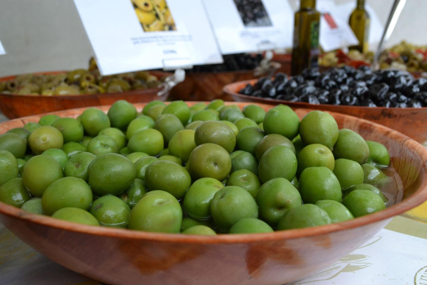 Sicilian Nocellara: slightly dark green, buttery and pretty sweet. Photo: SE
