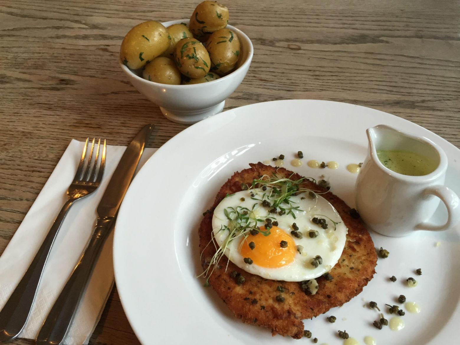 Chicken Schnitzel: an explodingly orange fried egg. Photo: CF