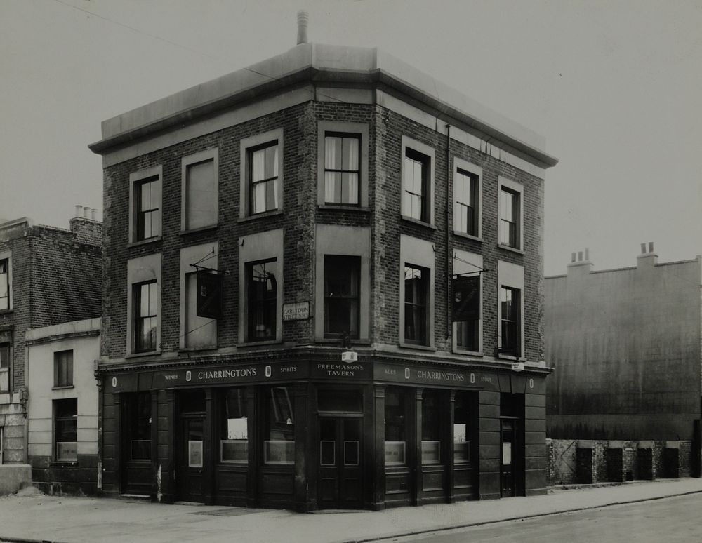 Freemasons, 1951. 37 Gilden Road, NW5. Long since flattened. Photo:  Charrington Brewery