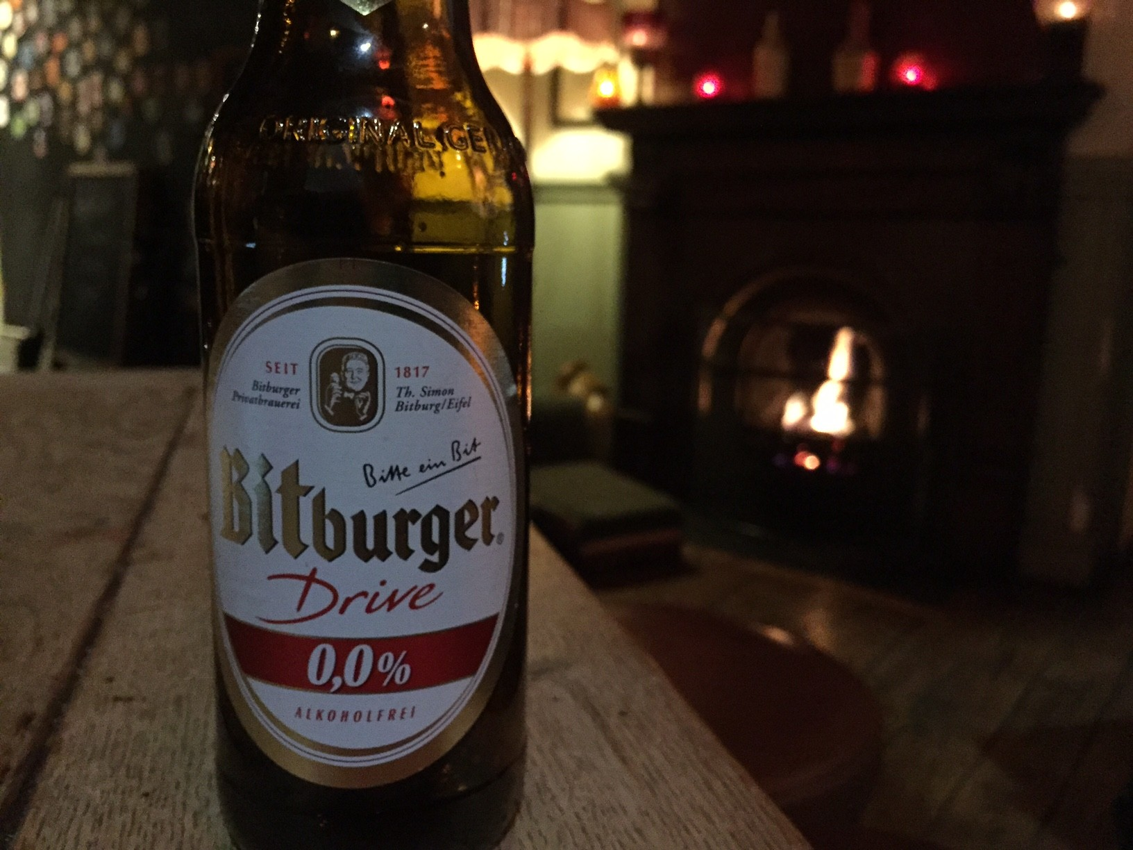 A nice cold Bitburger fireside at Tapping The Admiral NW1. Photo: SE