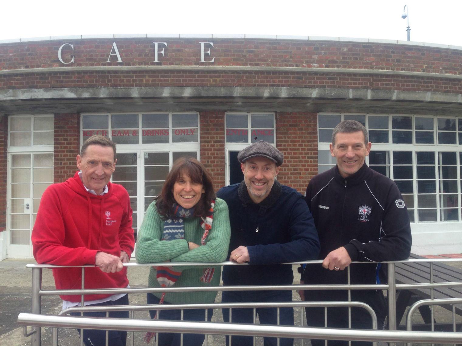 Tara Kingsley, her husband Paul (second right) and friends outside the Lide Cafe. Photo:Gavin Fernback
