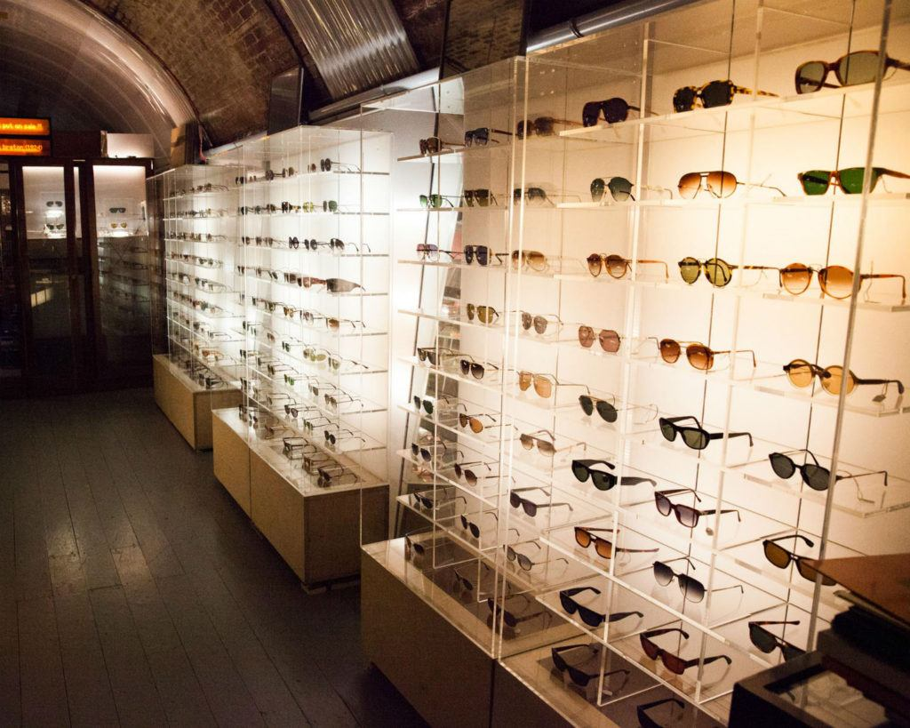 Racks of specs. Checking out the shades at General Eyewear