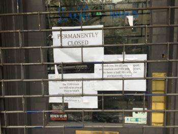 Notice on door.