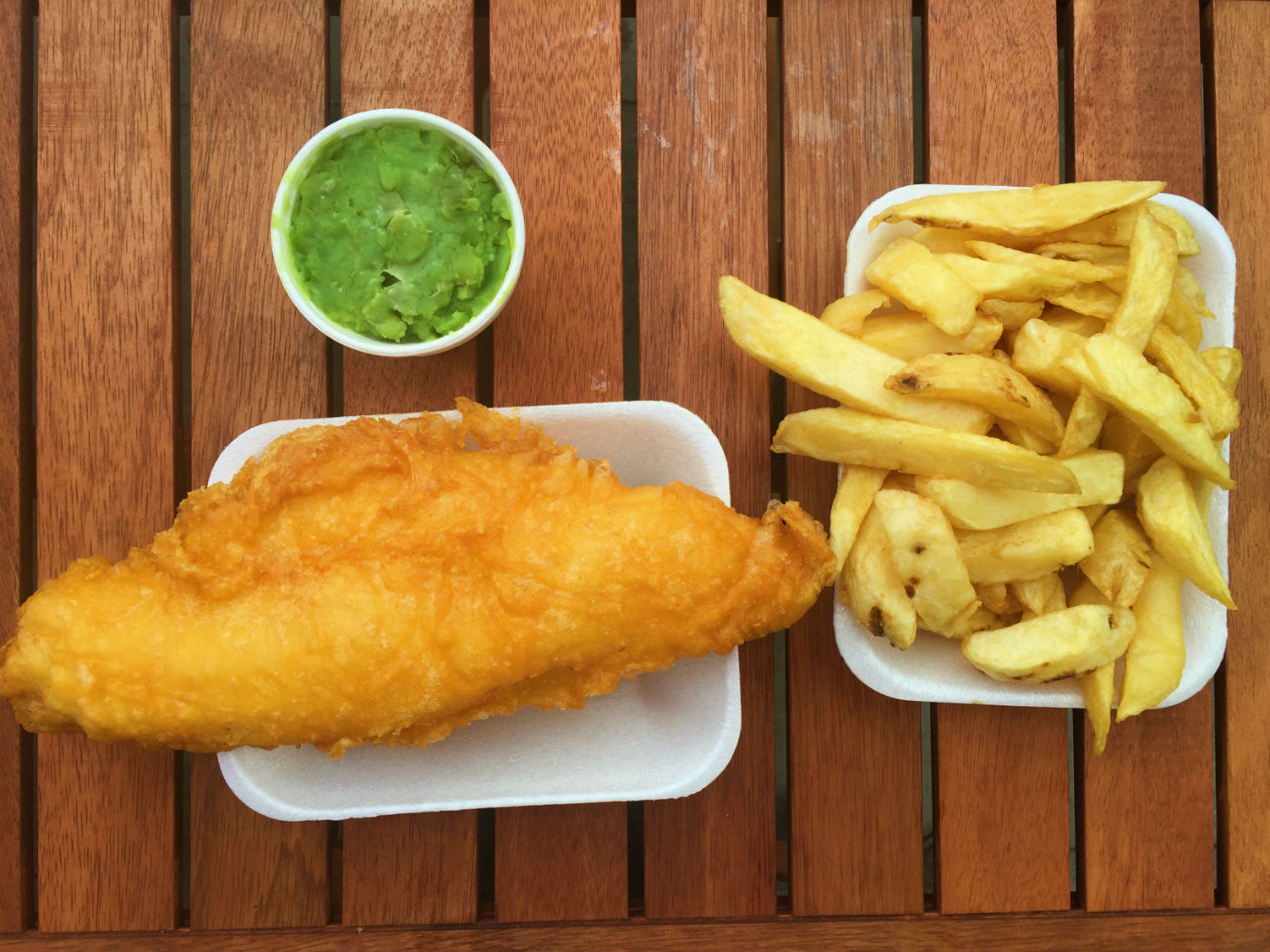 Cod and chips with mushy peas. Photo: SE