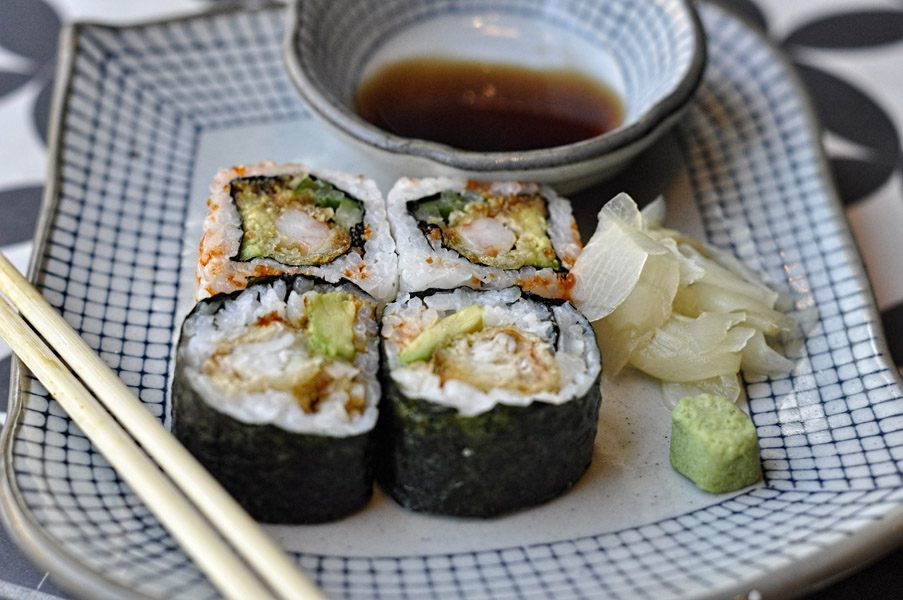 Sushi combo with soft shell crab