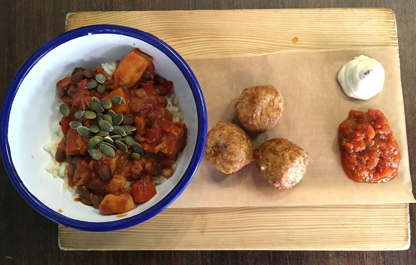 Stew and arancini. Photo: SE
