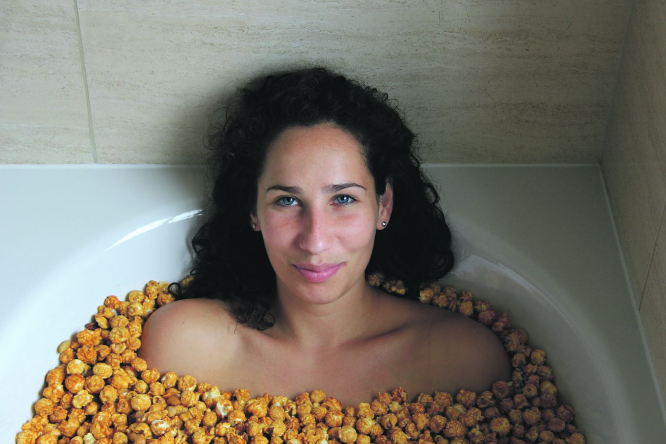 One half of Popcorn Shed: she even bathes in the stuff. Photo: PR