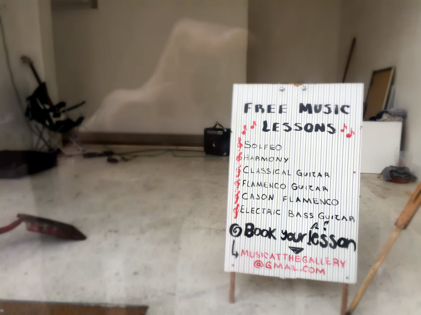 The gang are offering free music lessons. Photo: SE