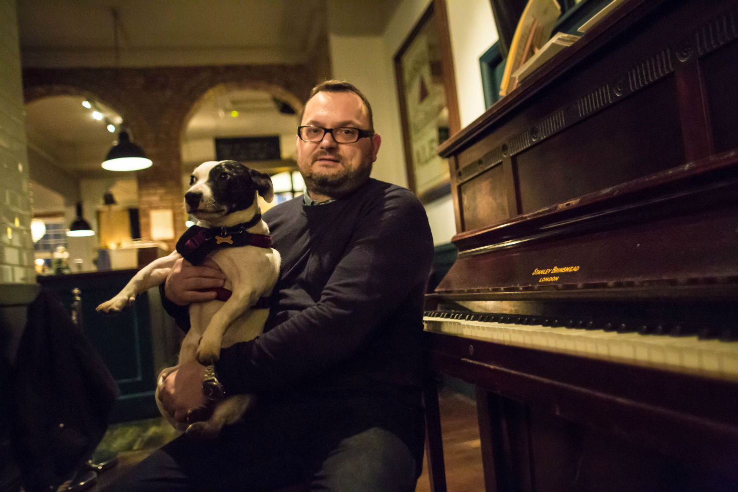 Stephen with pooch at The Vine. Photo: Dan Hall