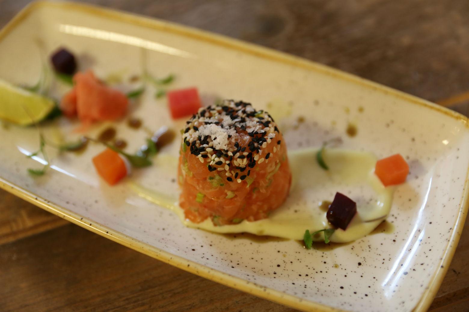 Creamy and rough-chopped: salmon tartare. Photo: Beth DeLeon