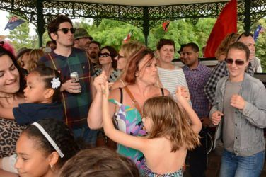 People gather in the bandstand at Palrliament Hill Fields Festival