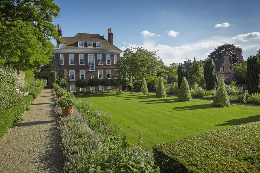 Fenton House gardens against blue sky