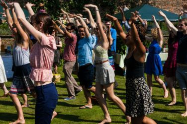 People dance in unison at Idler Festival