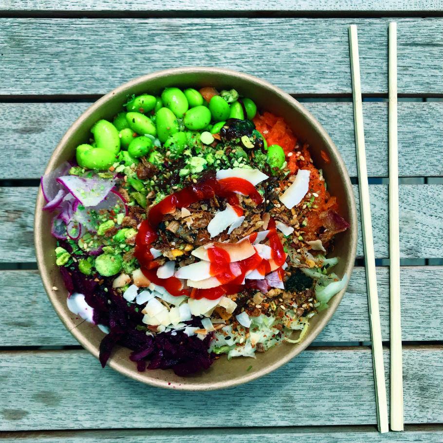A healthy bowl of poké at Lords of Poké at Kerb Camden