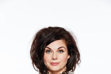 Caitlin Moran in a leopard print blouse promotes How to be Famous
