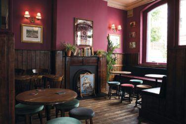 Maroon dark room at the Dartmouth Arms
